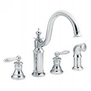 Moen S712 Waterhill Two Handle Kitchen Faucet with Side Spray