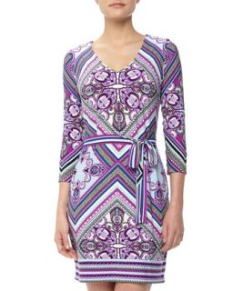 Tapesty Print Stretch Jersey Dress, Petunia