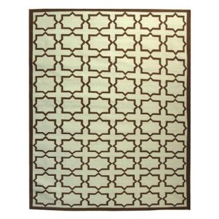 Safavieh Hand woven Moroccan Dhurrie Light Blue/ Chocolate Wool Rug (5 X 8)