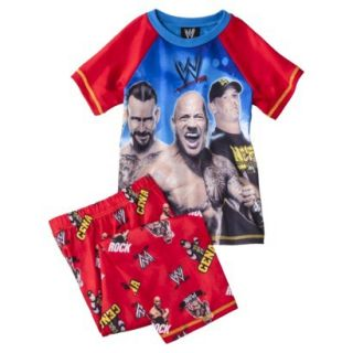 WWE Boys 2 Piece Short Sleeve Tee and Pant Pajama Set   Red L