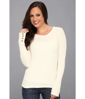 Lucky Brand Sweater Back Thermal Womens Sweater (White)