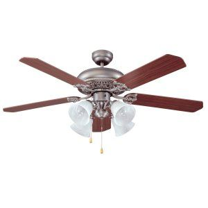 Ellington Fans ELF E MAN52AN5C4 Manor 52 Ceiling Fan w/ 4 Alabaster Lights ligh