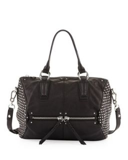 Dora Circle Studded Leather Satchel/Shoulder Bag, Black