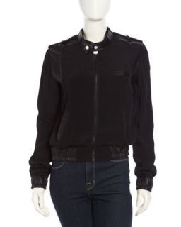 Faux Leather Contrast Bomber Jacket, Black