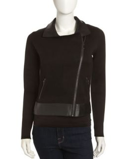 Leather Collar Zip Front Jacket, Black