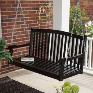 Coral Coast Pleasant Bay Curved Back Black Painted Porch Swing   NS LV 09, 5 ft.