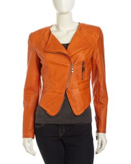 Faux Leather Zip Moto Jacket, Bright Orange