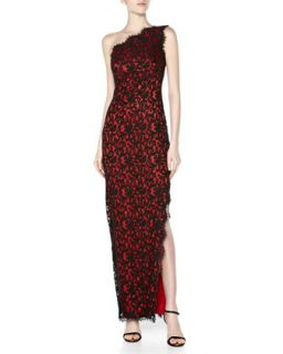 One Shoulder Mesh Lace Gown, Black/Red