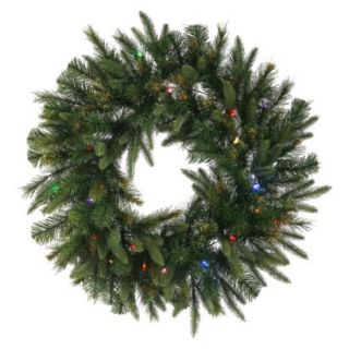 Pre Lit Battery Operated Cashmere Wreath   Multi Lights (30)