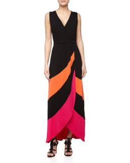 Asymmetric Striped Petal Maxi Dress, Orange Peel/Hot Pink/Black