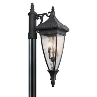 Kichler 49133BKG Outdoor Light, Classic (Formal Traditional) Post Mount 3 Light Fixture Black with Gold