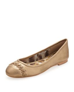 Felicity Cord Laced Cap Toe Flat, Egyptian Gold