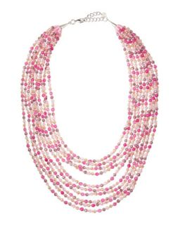 Multi Layered Beaded Necklace, Pink