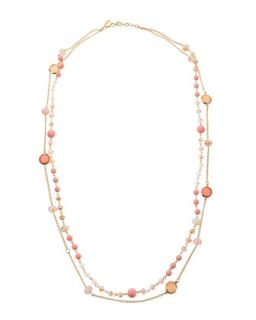 Multi Strand Long Crystal Necklace, Pink