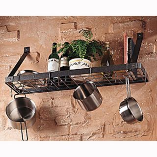 The Gourmet Bookshelf Wall Mount Pot Rack with Grid   8401