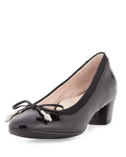 Fairlawn Patent Low Heel Bow Pump, Black
